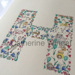 Alphabet letter H Original watercolour painting by Catherine Winget on catherinewinget.com
