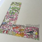 Alphabet letter L Original watercolour painting by Catherine Winget on catherinewinget.com
