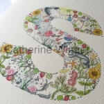 Alphabet letter S Original watercolour painting by Catherine Winget on catherinewinget.com