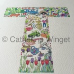 Alphabet letter T Original watercolour painting by Catherine Winget on catherinewinget.com