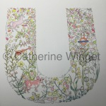 Alphabet letter U Original watercolour painting by Catherine Winget on catherinewinget.com