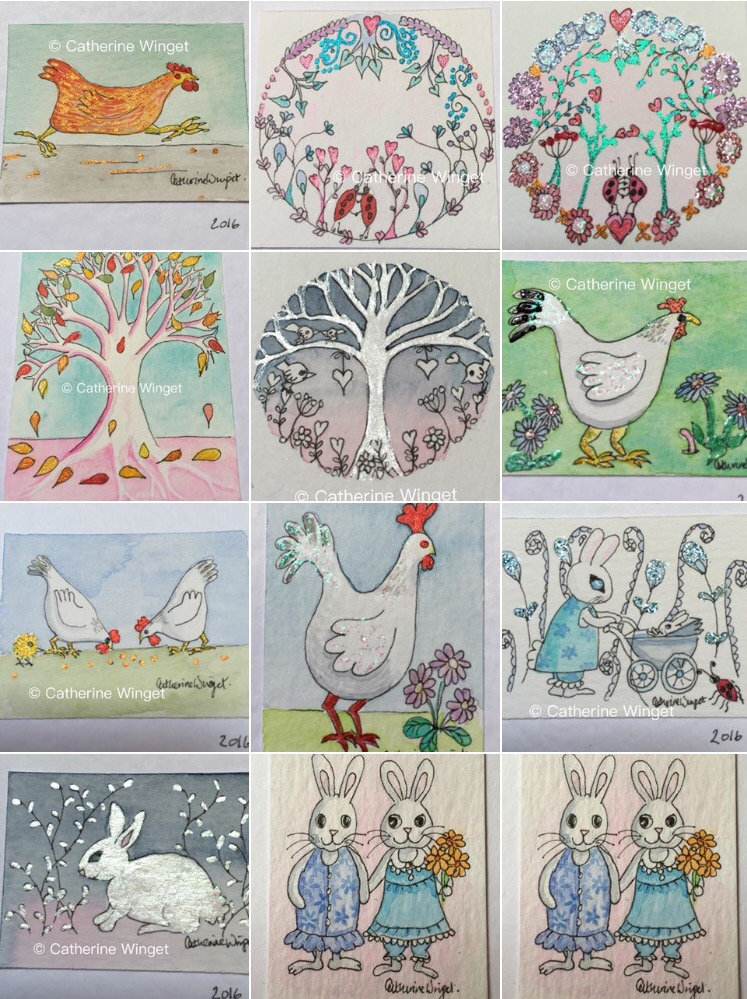 miniature watercolour paintings chickens trees mice rabbits by Catherine Winget